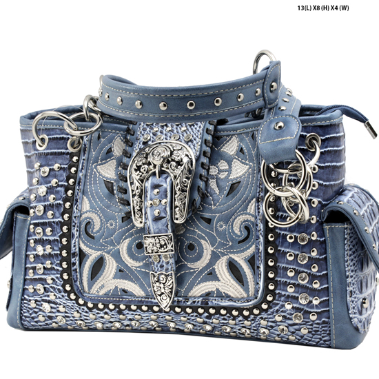 CRO-93-LT-BLUE - WHOLESALE WESTERN BUCKLE PURSES CONCEALED CARRY WEAPON HANDBAGS