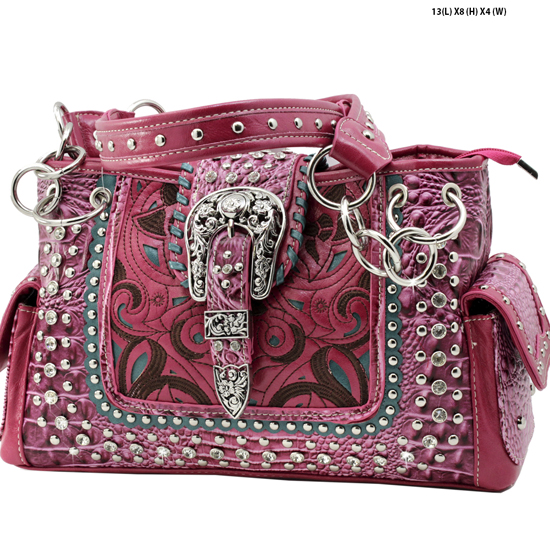 CRO-93-LT-PINK - WHOLESALE WESTERN BUCKLE PURSES CONCEALED CARRY WEAPON HANDBAGS
