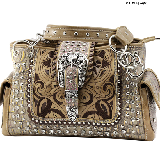 CRO-93-TAUPE - WHOLESALE WESTERN BUCKLE PURSES CONCEALED CARRY WEAPON HANDBAGS