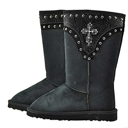 CR-8206-BLACK - WHOLESALE RHINESTONE WINTER BOOTS