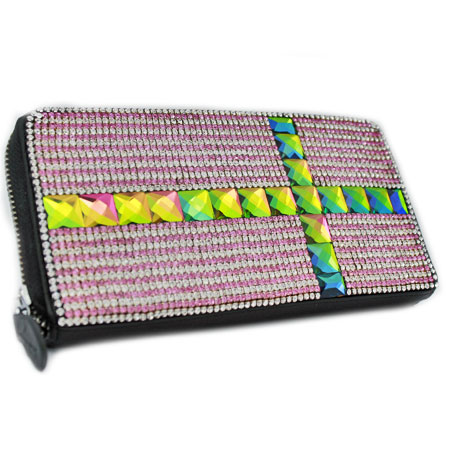 BHW-LTHR-CROSS-PINK - FULL CRYSTAL GLASS RHINESTONE STUDDED WALLETS