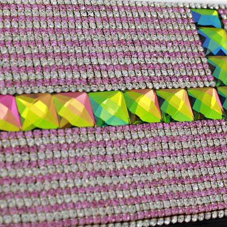 BHW-LTHR-CROSS-PINK - FULL CRYSTAL GLASS RHINESTONE STUDDED WALLETS