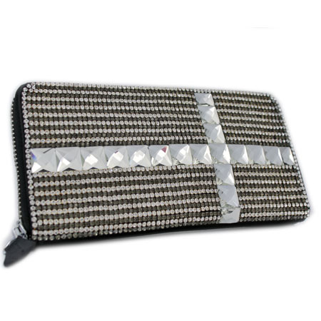 BHW-LTHR-CROSS-PEW - FULL CRYSTAL GLASS RHINESTONE STUDDED WALLETS