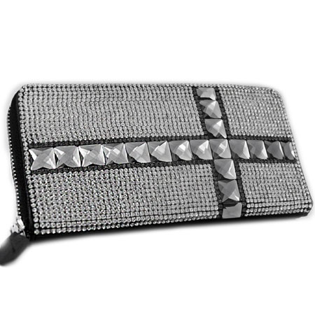 BHW-LTHR-CROSS-BK-CL - FULL CRYSTAL GLASS RHINESTONE STUDDED WALLETS