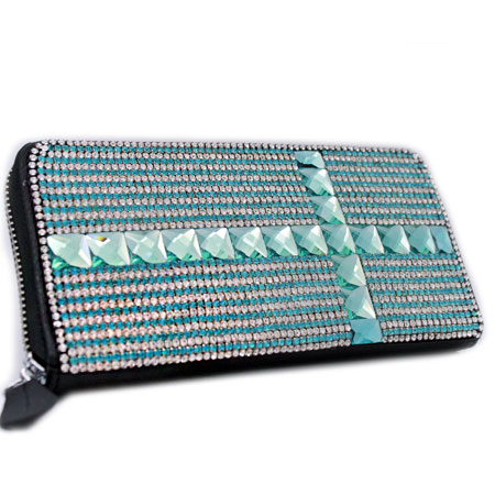 BHW-LTHR-CROSS-TURQ - FULL CRYSTAL GLASS RHINESTONE STUDDED WALLETS