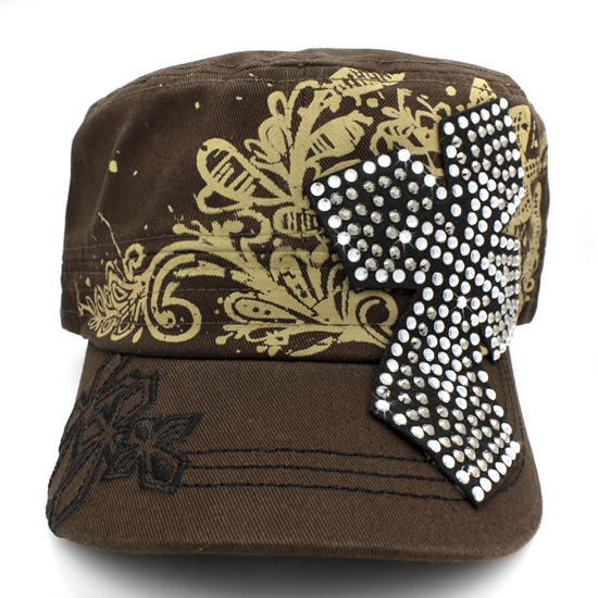 CAD-NEW-050-BROWN - WHOLESALE RHINESTONE CROSS CADET STYLE CAPS