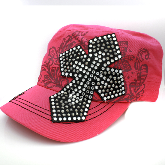 CAD-NEW-050-PINK - WHOLESALE RHINESTONE CROSS CADET STYLE CAPS