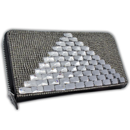BHW-LTHR-CW-222-BK - FULL CRYSTAL GLASS RHINESTONE STUDDED WALLETS