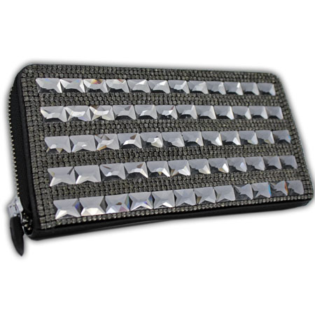 BHW-LTHR-CW-223-BK - FULL CRYSTAL GLASS RHINESTONE STUDDED WALLETS