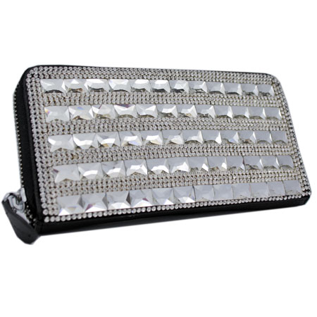 BHW-LTHR-CW-228 - FULL CRYSTAL GLASS RHINESTONE STUDDED WALLETS