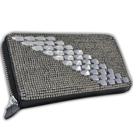 BHW-LTHR-CW-229 - FULL CRYSTAL GLASS RHINESTONE STUDDED WALLETS