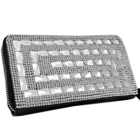 BHW-LTHR-CW-230 - FULL CRYSTAL GLASS RHINESTONE STUDDED WALLETS