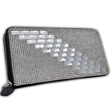 BHW-LTHR-CW-232 - FULL CRYSTAL GLASS RHINESTONE STUDDED WALLETS