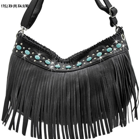 CS23-B285-BLACK - WHOLESALE TURQUOISE FRINGE HANDBAGS