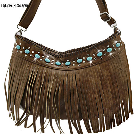 CS23-B285-BROWN - WHOLESALE TURQUOISE FRINGE HANDBAGS