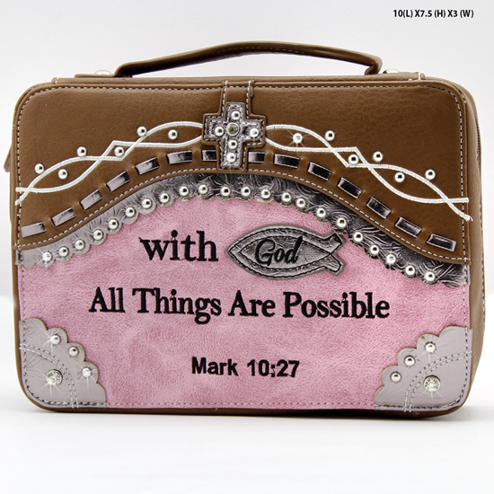 CSB2-455-PINK - WHOLESALE BIBLE COVERS/ RHIENSTONE CROSS BIBE CASES