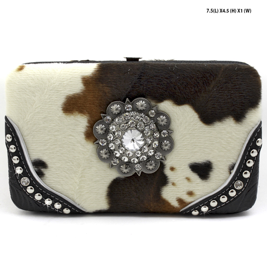 COW-CTA-238-BLACK - RHINESTONE STUDDED FLAT FRAME WALLETS
