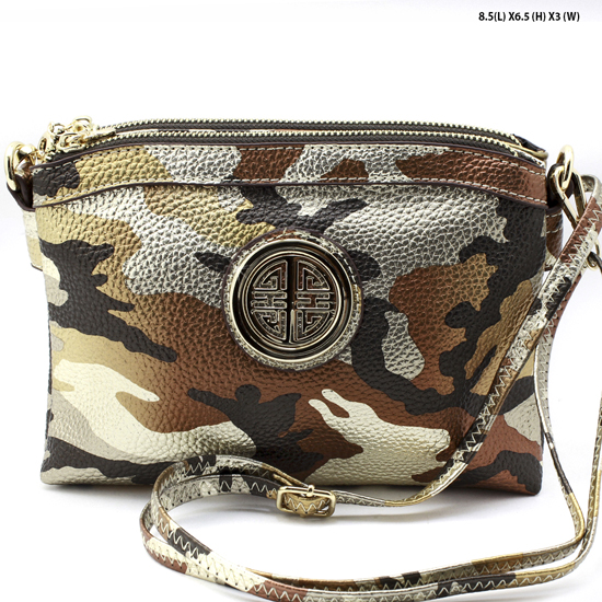 CCU-007-BROWN/GD - NEW DESIGNER INSPIRED RUNWAY STYLE PURSES