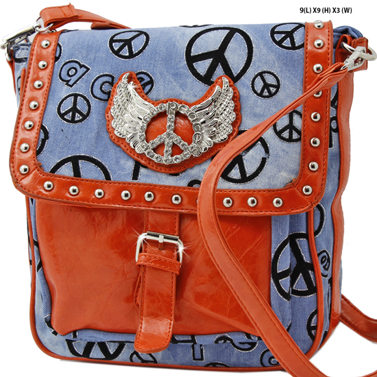 DPM-4910-ORANGE - DESIGNER INSPIRED PEACE MESSENGER STYLE BAGS