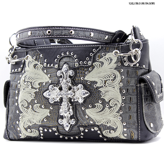 DR-893-BLACK - WHOLESALE WESTERN TOOLED CROSS PURSES