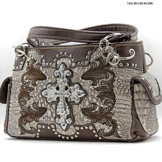 DR-893-BONE - WHOLESALE WESTERN TOOLED CROSS PURSES