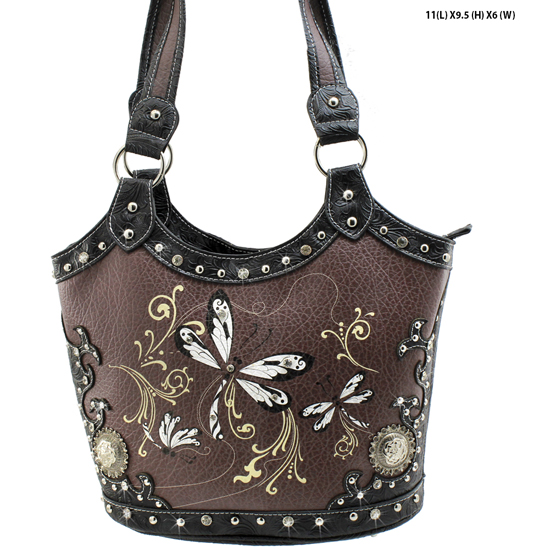 DRA2-361-BLACK - WHOLESALE DRAGONFLY DESIGN HANDABGS CONCEALED WEAPON PURSES