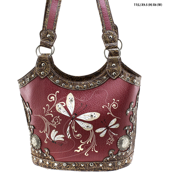 DRA2-361-BURGANDY - WHOLESALE DRAGONFLY DESIGN HANDABGS CONCEALED WEAPON PURSES