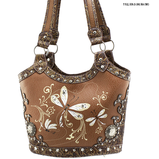DRA2-361-TOFFEE - WHOLESALE DRAGONFLY DESIGN HANDABGS CONCEALED WEAPON PURSES