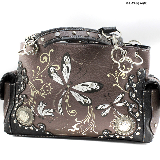 DRA2-8469-BLACK - WHOLESALE DRAGONFLY DESIGN HANDABGS CONCEALED WEAPON PURSES