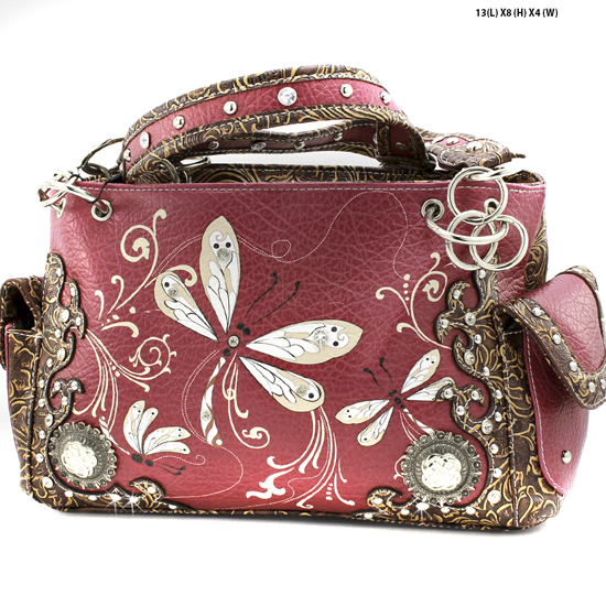 DRA2-8469-BURGANDY - WHOLESALE DRAGONFLY DESIGN HANDABGS CONCEALED WEAPON PURSES