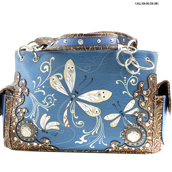 DRA2-8469-PEACOCK - WHOLESALE DRAGONFLY DESIGN HANDABGS CONCEALED WEAPON PURSES