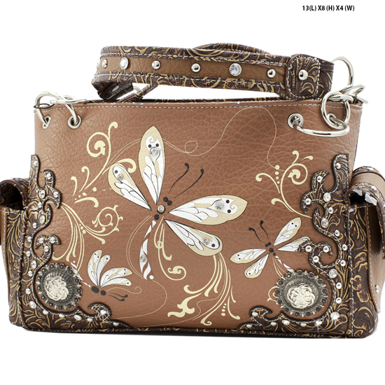 DRA2-8469-TOFFEE - WHOLESALE DRAGONFLY DESIGN HANDABGS CONCEALED WEAPON PURSES