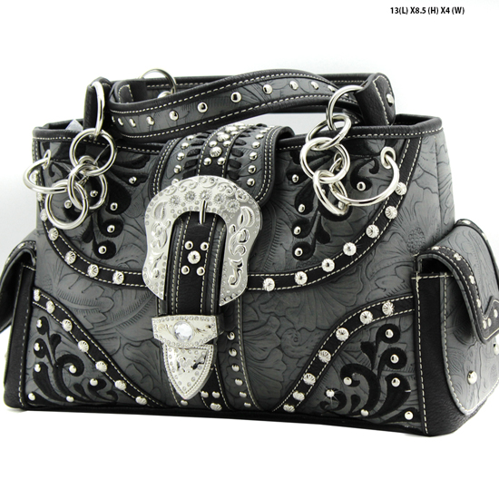 EBK-893-PEWTER - WHOLESALE WESTERN BUCKLE PURSES CONCEALED CARRY WEAPON HANDBAGS