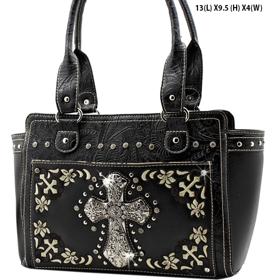 FC-168-BLACK - WHOLESALE WESTERN CROSS PURSES