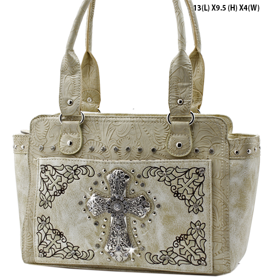 FC-168-BONE - WHOLESALE WESTERN CROSS PURSES