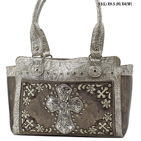 FC-168-PEWTER - WHOLESALE WESTERN CROSS PURSES