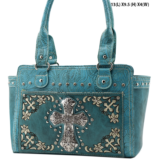FC-168-TURQ - WHOLESALE WESTERN CROSS PURSES