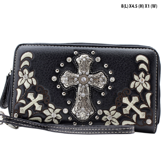 FC-238-BLACK - WHOLESALE WOMENS WRISTLETS-WALLETS