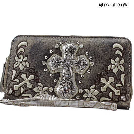 FC-238-PEWTER - WHOLESALE WOMENS WRISTLETS-WALLETS