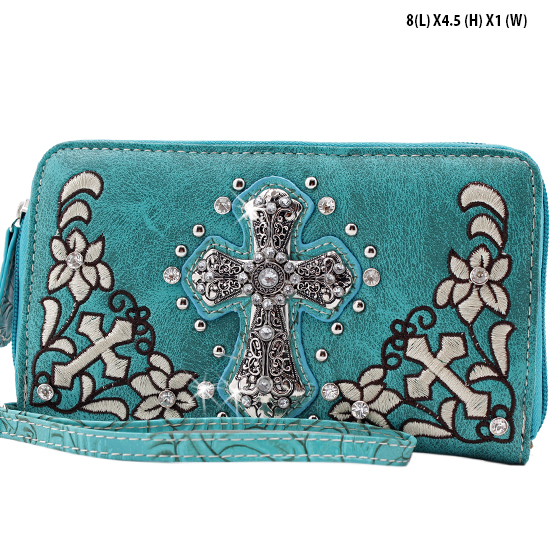 FC-238-TURQ - WHOLESALE WOMENS WRISTLETS-WALLETS