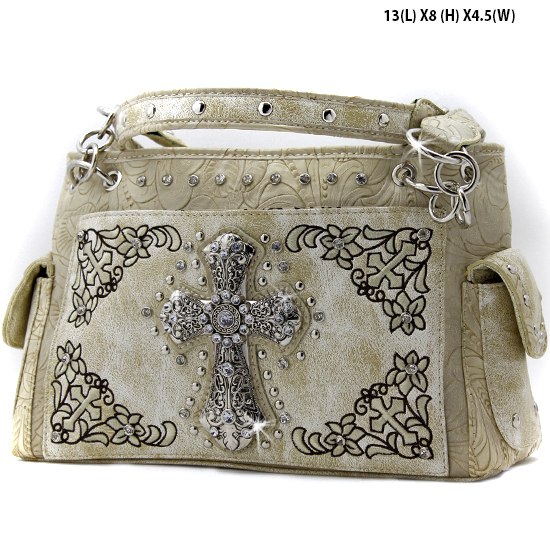 FC-893-BONE - WHOLESALE WESTERN CROSS PURSES