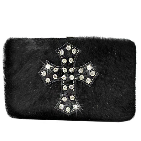 HIDE-FH238-BLACK - WHOLESALE FLAT WALLETS/OPERA STYLE METAL FRAME