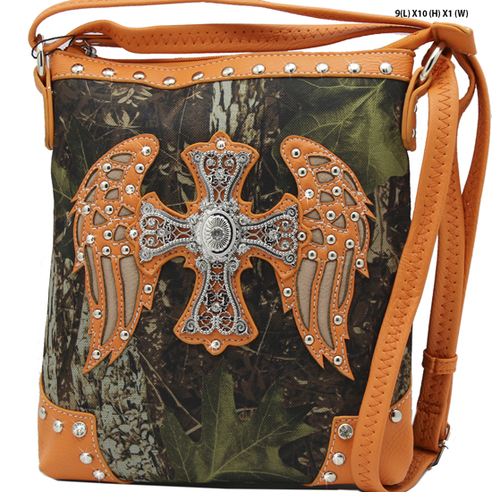 FML22-4699-ORANGE - RHINESTONE CROSS & WINGSCAMOUFLAGE HANDBAGS