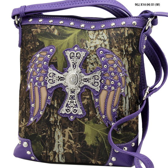 FML22-4699-PURPLE - RHINESTONE CROSS & WINGSCAMOUFLAGE HANDBAGS