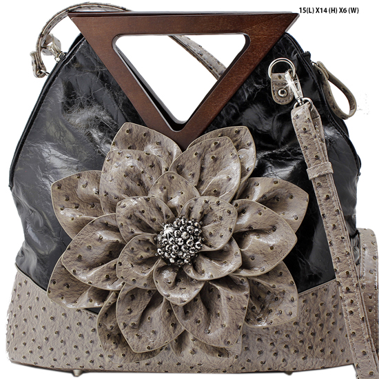 FSQ-4958-BLACK - RHINESTONE CRYSTAL STUDDED FLOWER HANDBAGS