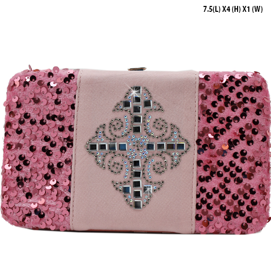 NEW-Q-2070-LCR-PINK - WHOLESALE WOMENS WESTERN BUCKLE WALLET