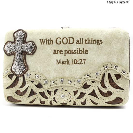 305-14-LCR-ALL-BEIGE - WHOLESALE BIBLE VERSE WALLETS WOMENS FLAT FRAME WALLETS