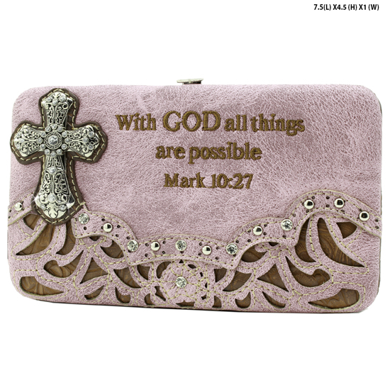 305-14-LCR-ALL-PINK - WHOLESALE BIBLE VERSE WALLETS WOMENS FLAT FRAME WALLETS