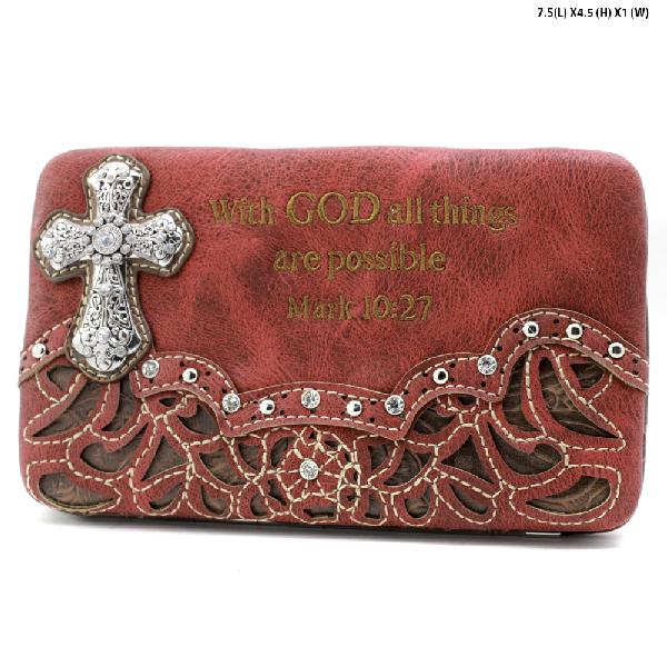 305-14-LCR-ALL-RED - WHOLESALE BIBLE VERSE WALLETS WOMENS FLAT FRAME WALLETS
