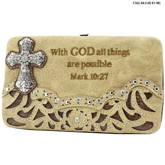 305-14-LCR-ALL-TAN - WHOLESALE BIBLE VERSE WALLETS WOMENS FLAT FRAME WALLETS